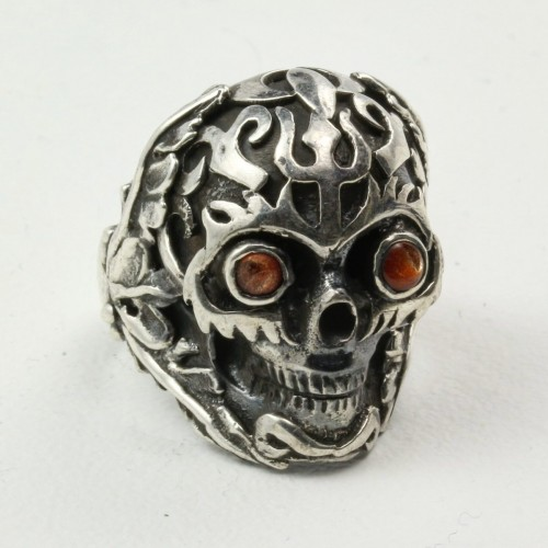Mystic Sun Skull Ring with Sunstone in Sterling Silver