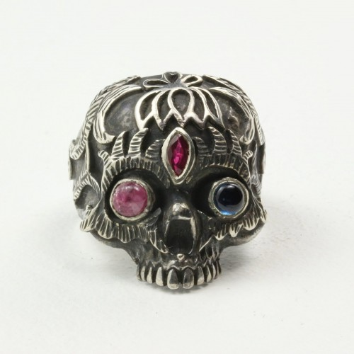 Mystic Third Eye Ring with Ruby Garnet and Iolite in Sterling Silver