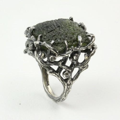Mystic Universe Ring with Moldavite and Rose Cut Diamonds