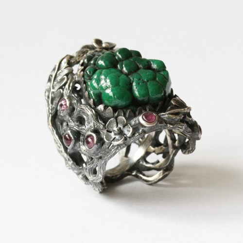 Mystic Vibrant Ring with Bubble Malachite Crystal