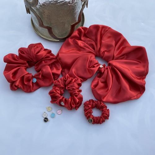 Red Satin Hair Scrunchies