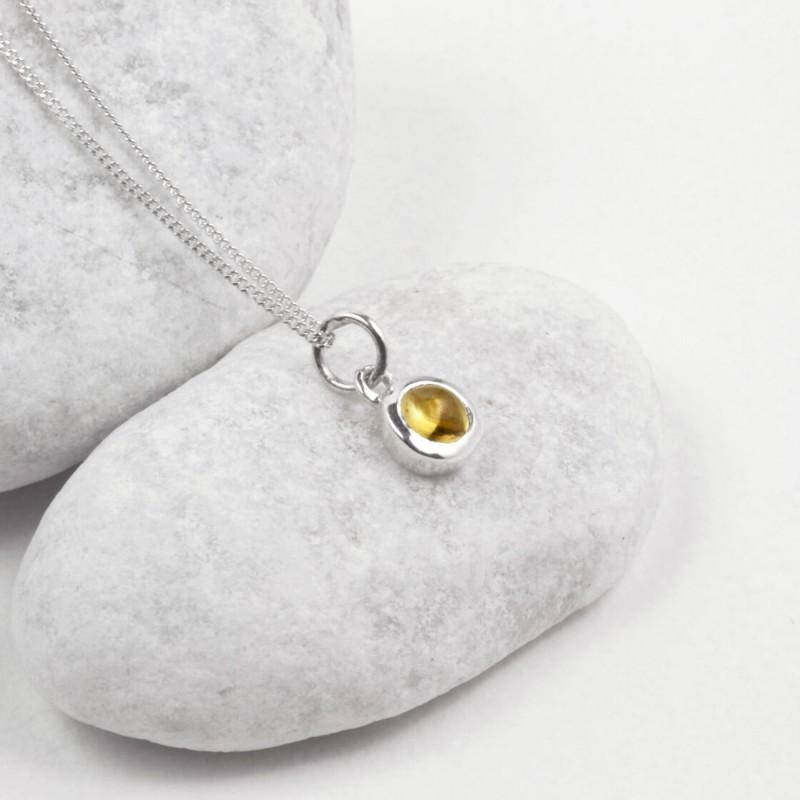 November Birthstone Necklace - Citrine Gemstone Charm in Sterling Silver