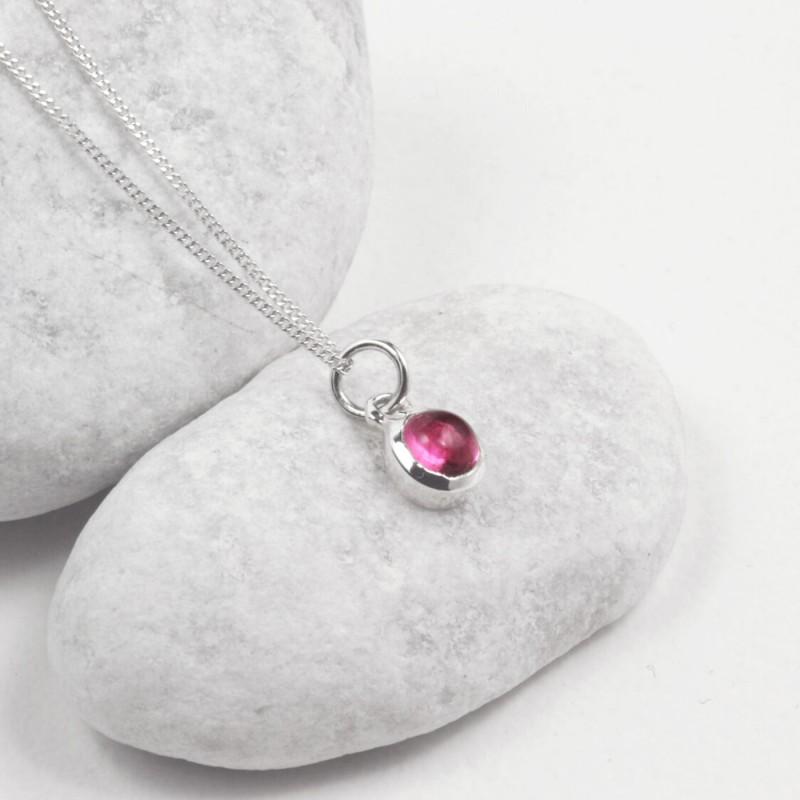 October Birthstone Necklace - Pink Tourmaline Gemstone Charm in Sterling Silver
