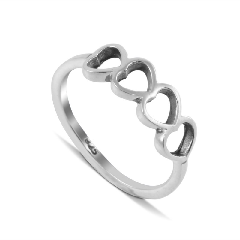 Open 4 hearts ring in sterling silver
