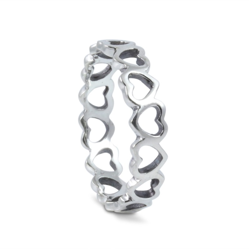 Open Hearts Band in Sterling Silver