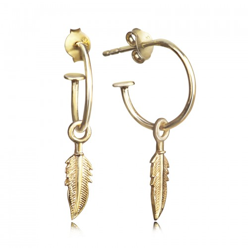 Open Hoop Earring with Feather Charm in Gold Vermeil