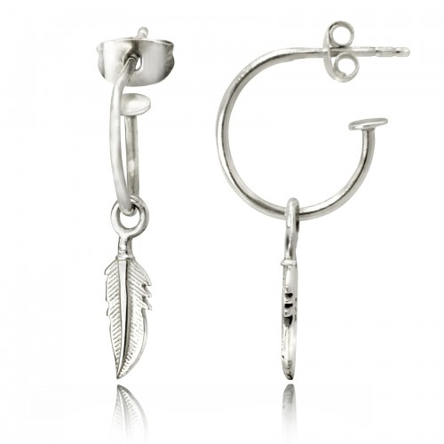Open Hoop Earrings with Feather Charm in Sterling Silver