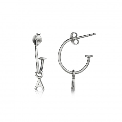 Open Hoop Stud Earrings with Alphabet Charms in Sterling Silver