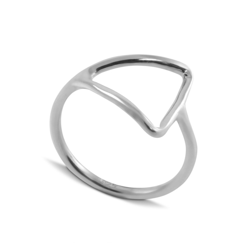 Open Side Triangle Ring in Sterling Silver