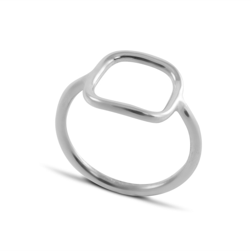 Open Square Ring in Sterling Silver