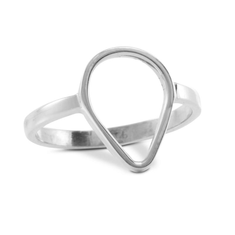 Open tear drop ring in sterling silver