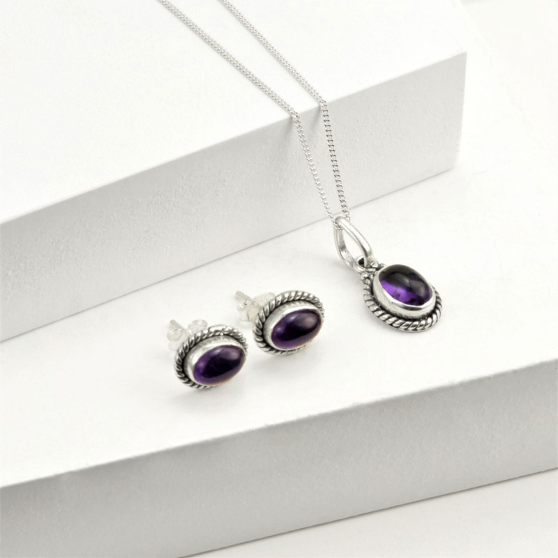 Oval Amethyst Jewellery Set in Sterling Silver