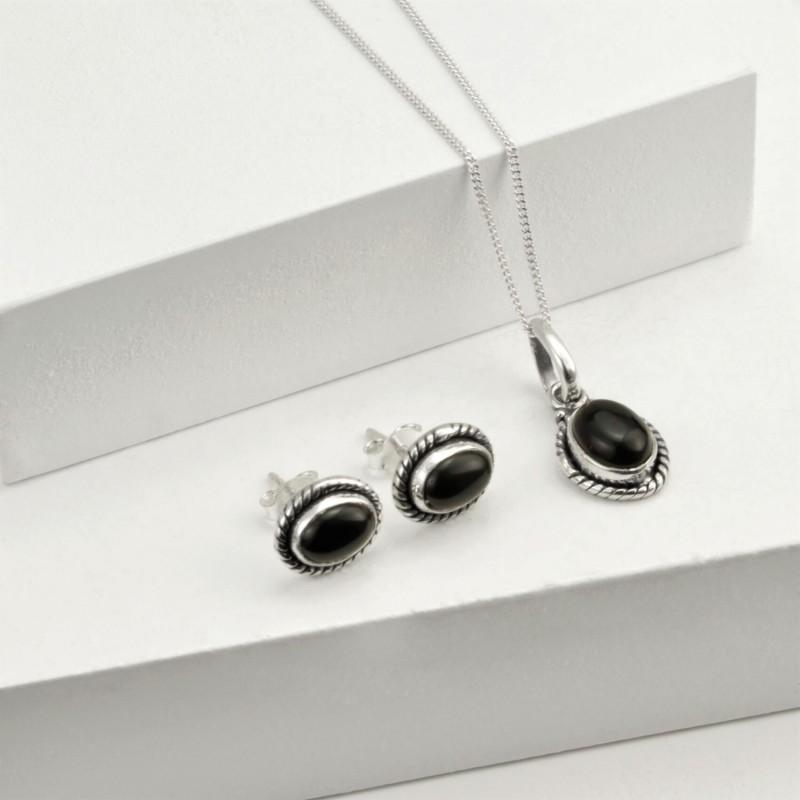 Oval Black Onyx Jewellery Set in Sterling Silver