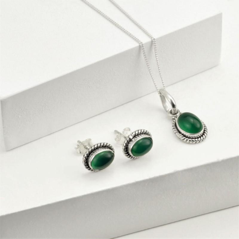 Oval Green Onyx Jewellery Set in Sterling Silver