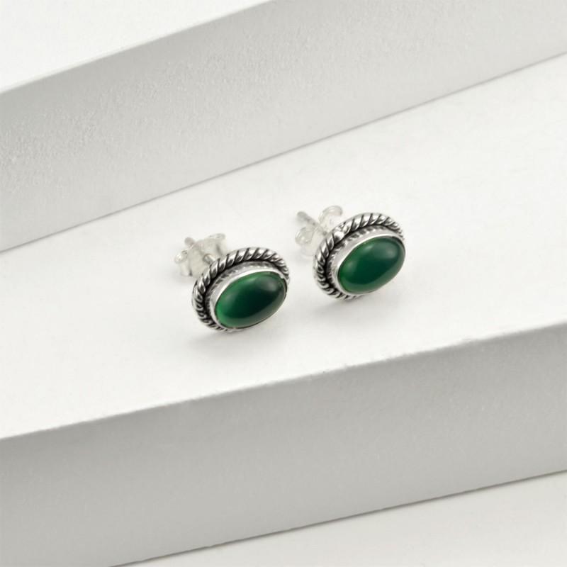 Oval Green Onyx Jewellery Set in Sterling Silver 4