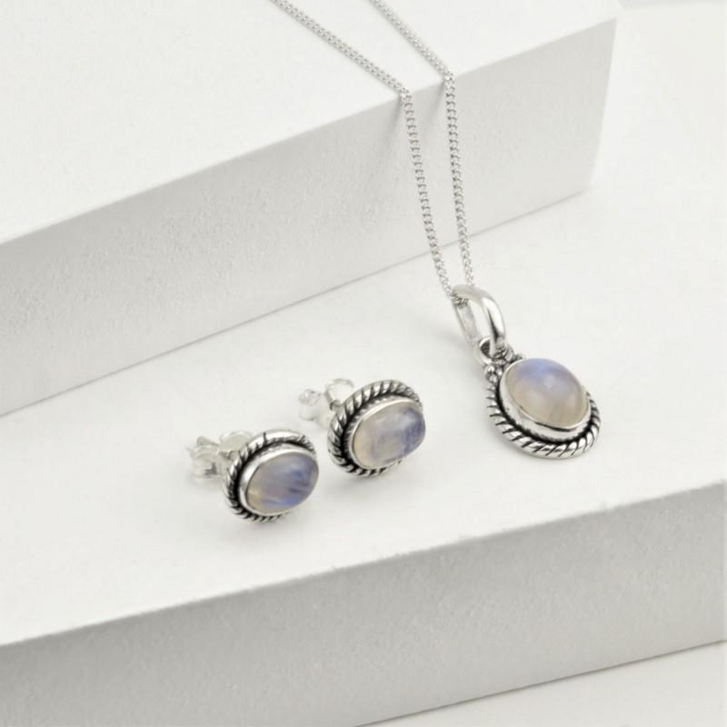 Oval Moonstone Jewellery Set in Sterling Silver