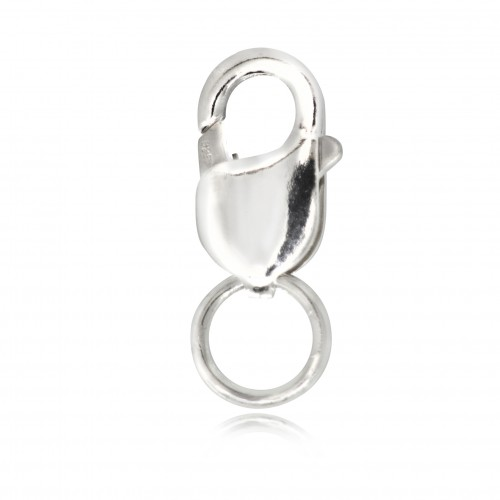 Oval-Shaped Lobster Clasp Finding in 925 Sterling Silver - 12mm