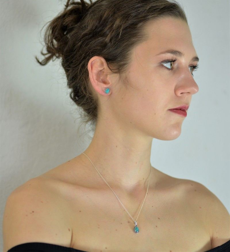 Oval Turquoise Jewellery Set in Sterling Silver 2