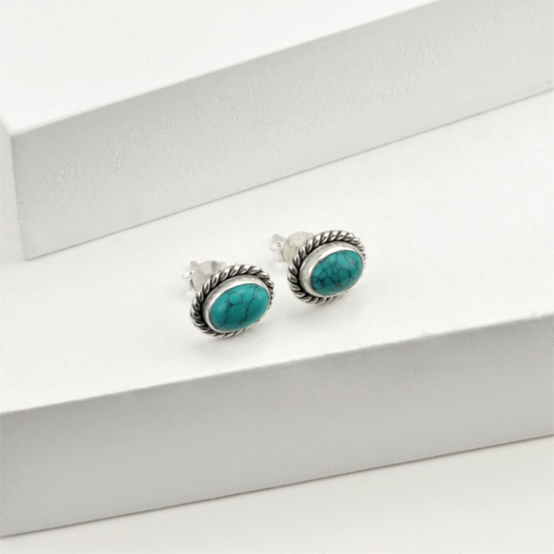 Oval Turquoise Jewellery Set in Sterling Silver 4