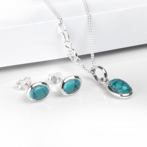 Oval Turquoise Jewellery Set in Sterling Silver