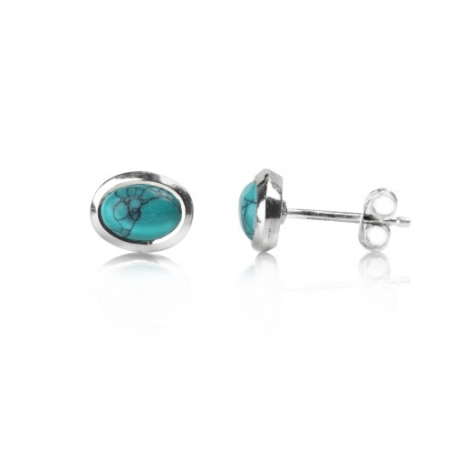 Oval Turquoise Studs in Sterling Silver