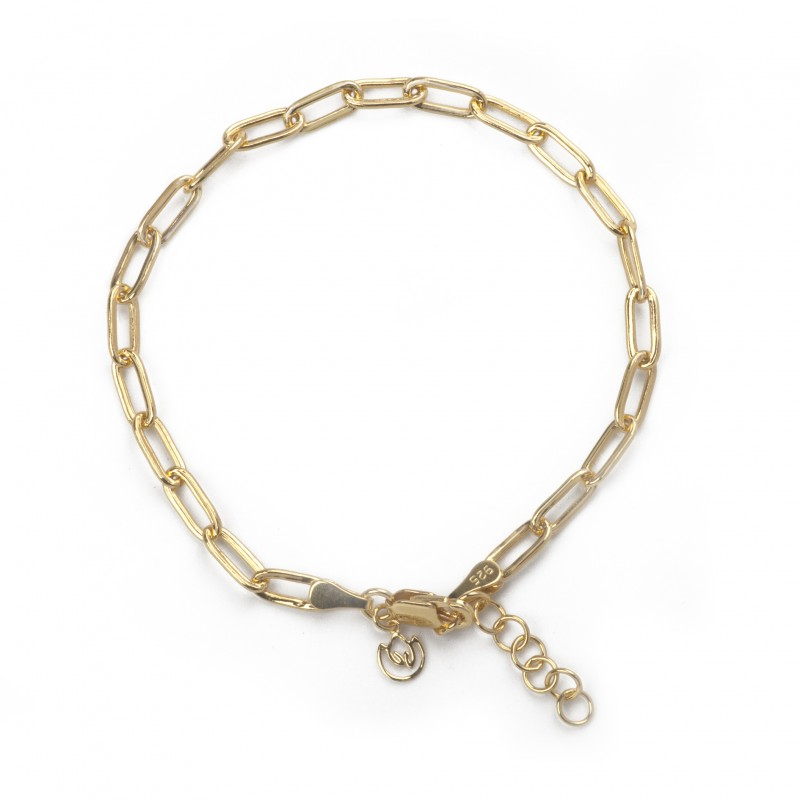 Paper Clip Bracelet In Sterling Silver and Gold Vermeil 2