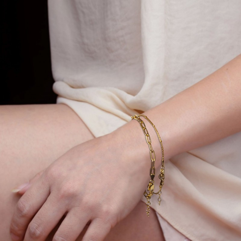 Paper Clip Bracelet In Sterling Silver and Gold Vermeil 4