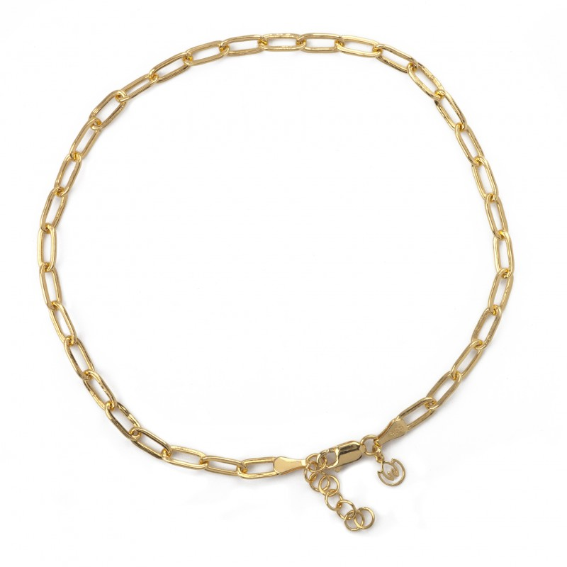 Paper Clip Link Anklet in Sterling Silver and Gold Vermeil 2