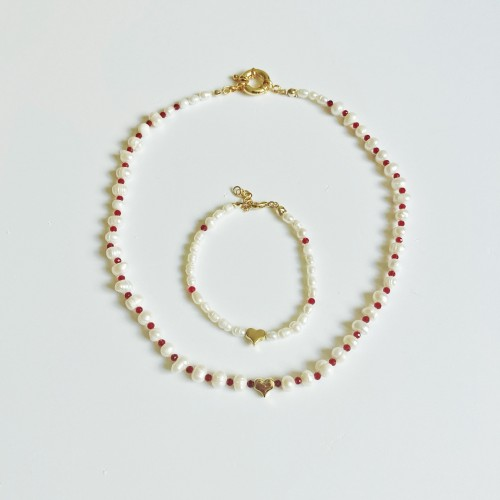 Pearl Necklace Set With Gold Plated Heart Charm