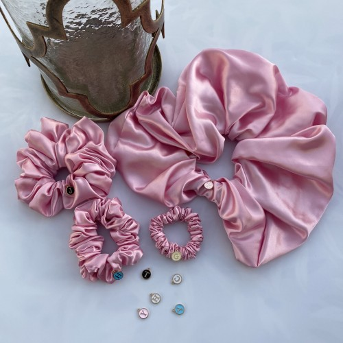 Pink Satin Hair Scrunchies