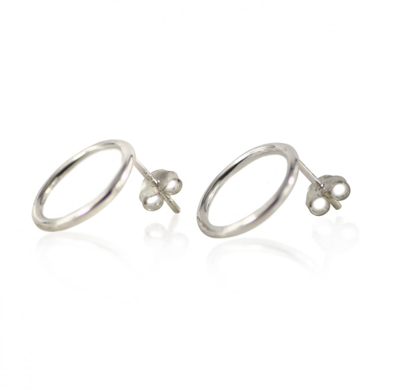 Plain Big Circle Studs with Butterfly Fastening in Sterling Silver