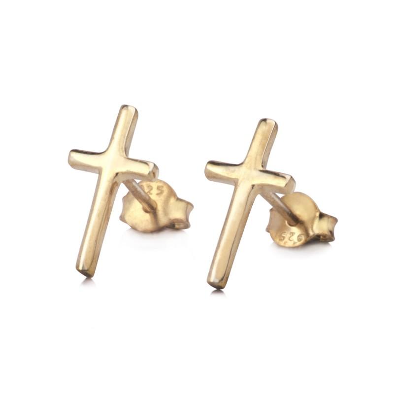 Plain Cross Stud in Gold Vermeil