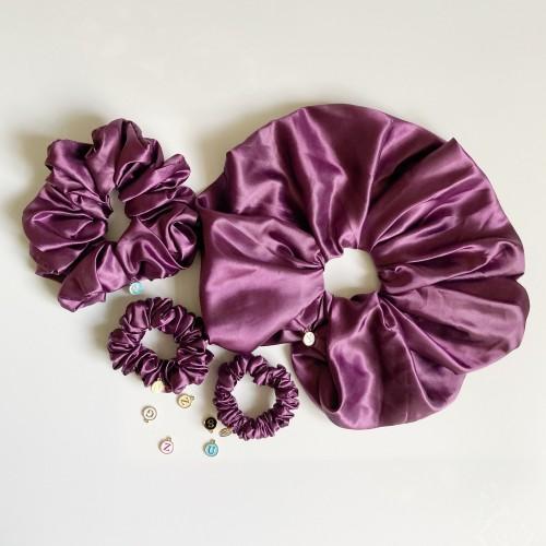 Purple Satin Hair Scrunchies