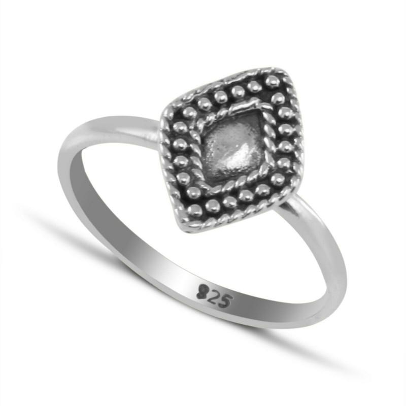 Rhombus shape mandala ring in sterling silver