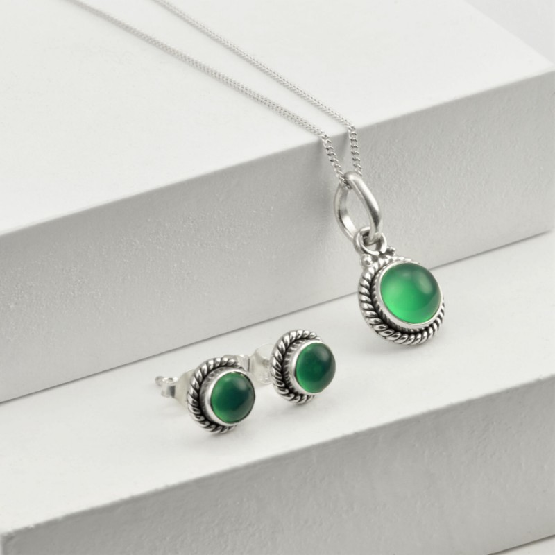 Round Green Onyx Jewellery Set in Sterling Silver