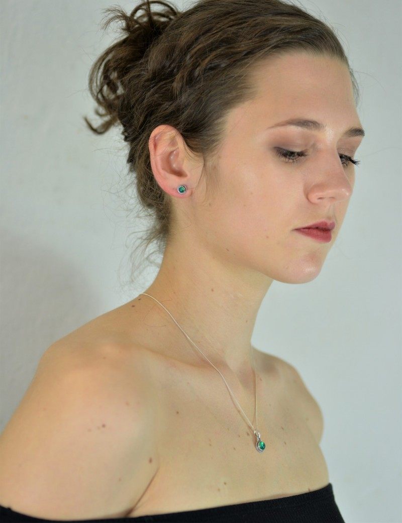 Round Green Onyx Jewellery Set in Sterling Silver 2