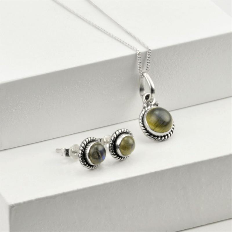 Round Labradorite Jewellery Set in Sterling Silver