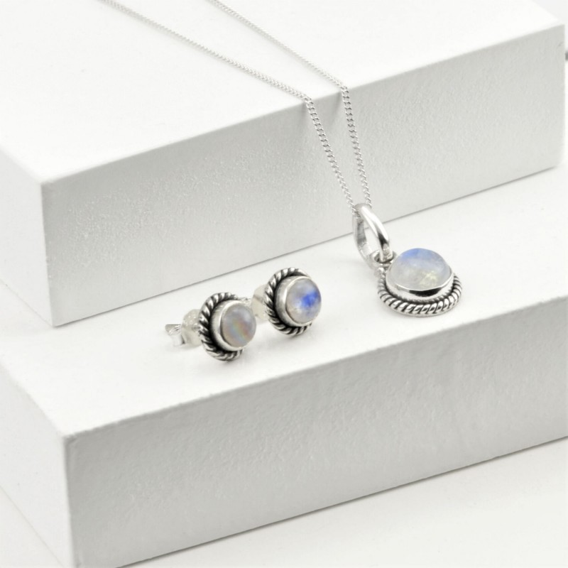Round Moonstone Jewellery Set in Sterling Silver
