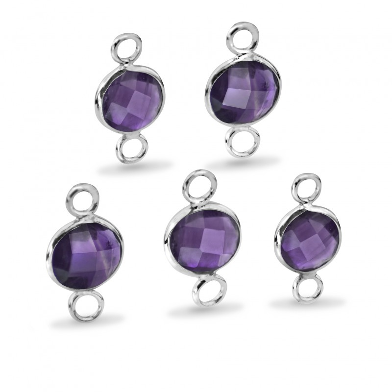 Round Shaped 8mm Faceted Amethyst Connectors
