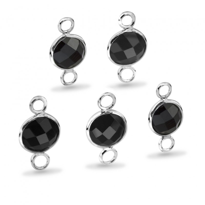 Round Shaped 8mm Faceted Black Onyx Connectors