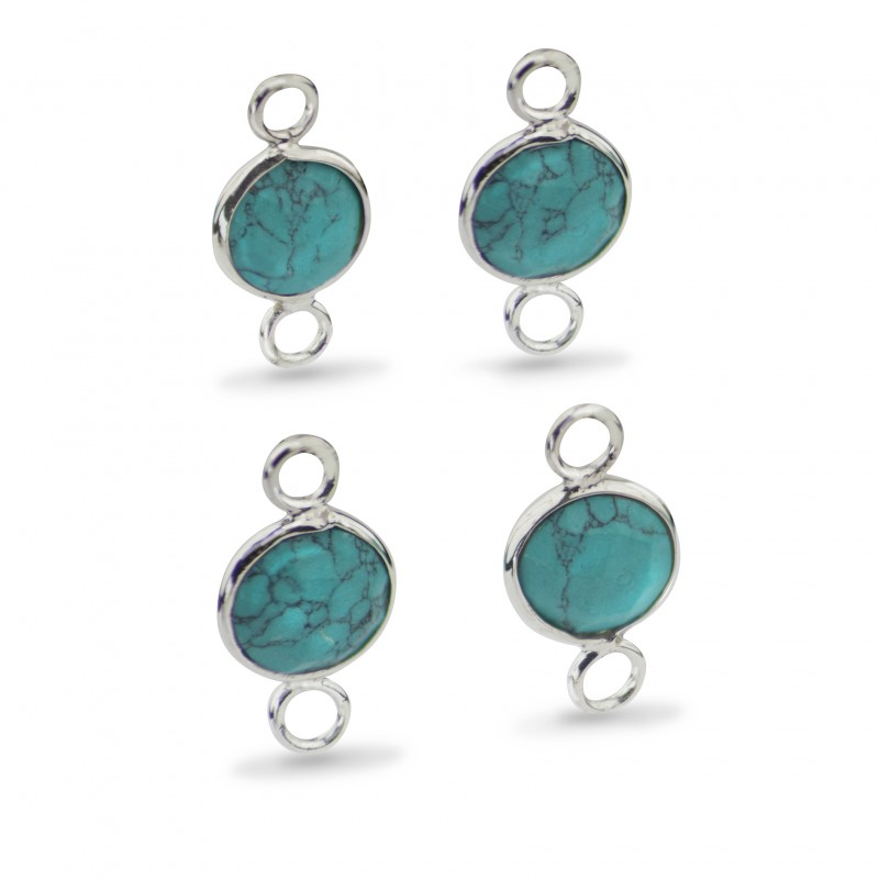 Round Shaped 8mm Faceted Turquoise Connectors