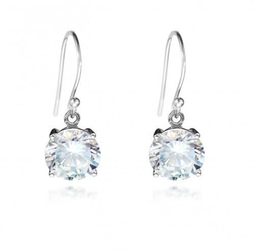 Round Swarovski Crystal Earrings in Sterling Silver