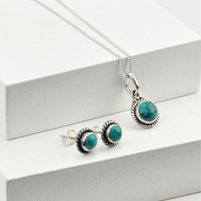 Round Turquoise Jewellery Set in Sterling Silver
