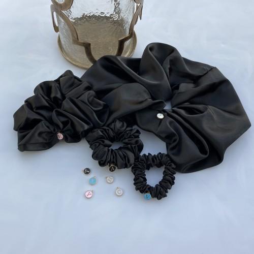 Black Satin Hair Scrunchies