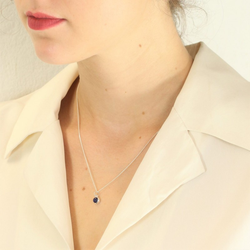 September Birthstone Necklace - Blue Sapphire Gemstone Charm in Sterling Silver 2