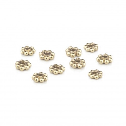 Silver Daisy Bali Spacer Beads in Gold Vermeil