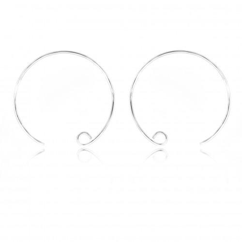 Spiral Earring Hooks in Sterling Silver - Diameter 25mm