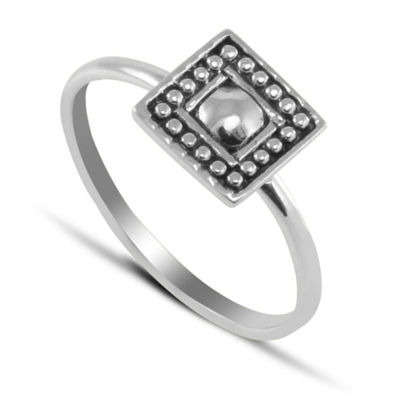 Square Mandala Ring in Sterling Silver