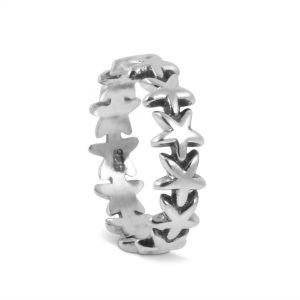 Star Band Ring in Sterling Silver