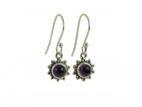Star Motif Hook Dangle Earrings with Amethyst in Sterling Silver